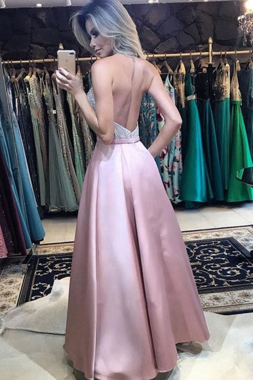 A Line Halter Backless Pink Prom with Pockets Long Formal Dresses - Prom Dresses