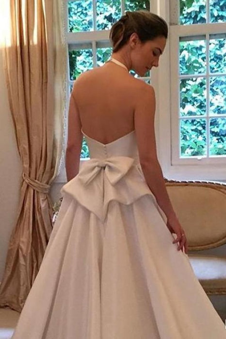 A Line Halter Satin Simple Backless Sleeveless Wedding Dress with Bow - Wedding Dresses