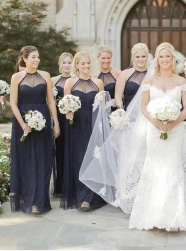 A-Line Halter Sleeveless Dark Blue Tulle Bridesmaid Dress - Bridesmaid Dresses