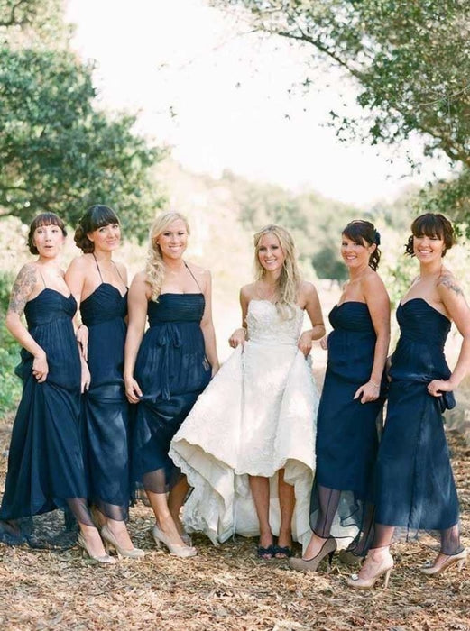 A-Line Halter Sweep Train Navy Blue Tulle Bridesmaid Dress - Bridesmaid Dresses