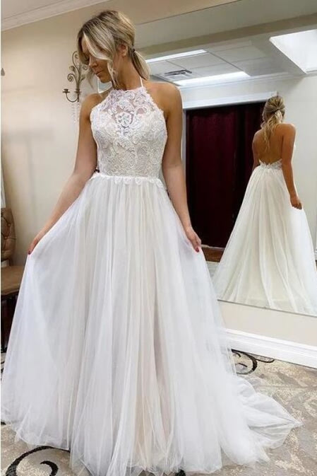 A Line Halter Tulle Lace Backless Beach Wedding Dres - Wedding Dresses