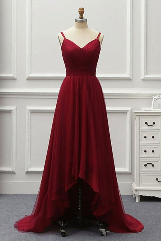 A Line High Low Tulle Prom with Train Burgundy V Neck Backless Formal Dress - Prom Dresses