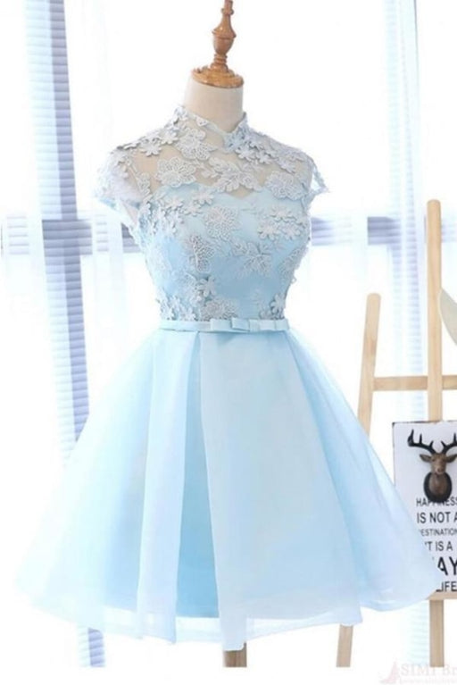 A Line High Neck Cap Sleeves Organza Homecoming Dresses with Bowknot - Prom Dresses