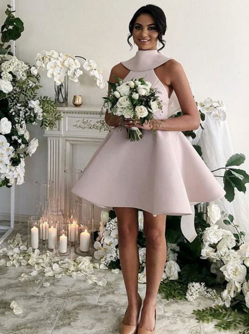 A-Line High Neck Short Blush Satin Bridesmaid Dress - Bridesmaid Dresses
