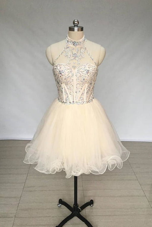 A Line High Neck Tulle Beading Mini Homecoming Short Prom Dress with Beads - Prom Dresses