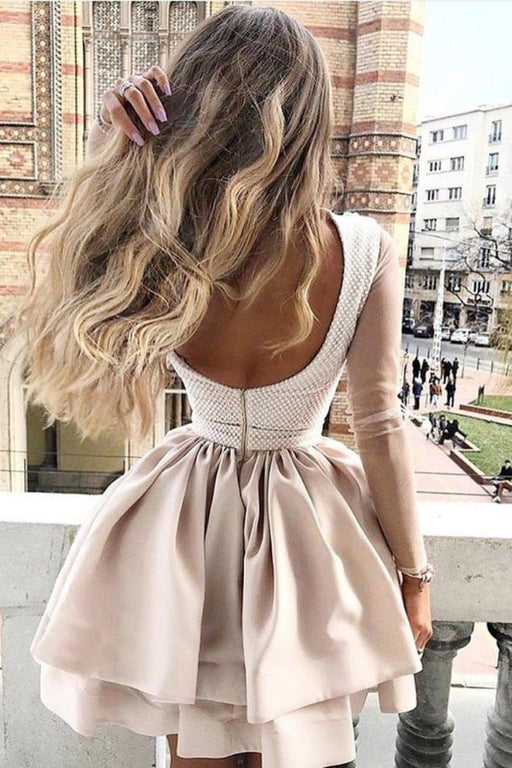 A Line High Neck Two Tiers Appliques Long Sleeves Short Homecoming Dress - Prom Dresses