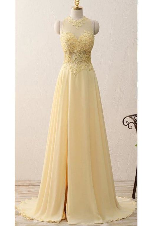 A Line Jewel Sleeveless Appliqued Prom with Beading Yellow Chiffon Evening Dress - Prom Dresses