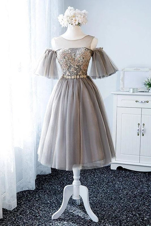 A Line Knee Length Tulle Homecoming Dress with Sleeves Cute Short Prom Gown - Prom Dresses