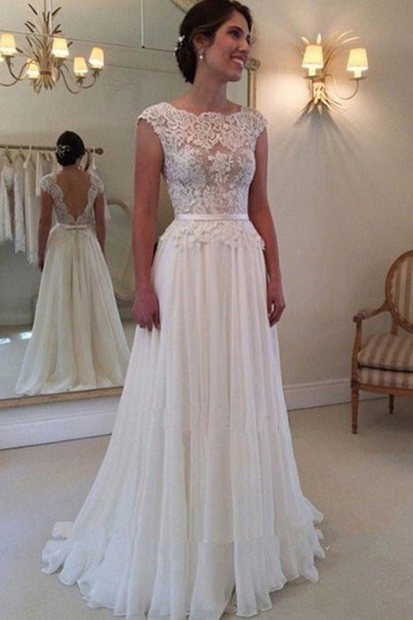 A-line Lace Appliqued Cap Sleeves Ivory Chiffon Long Beach Wedding Dress - Wedding Dresses