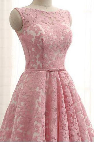 A Line Lace Homecoming with Belt Pink Short Ruched Prom Dress - Prom Dresses
