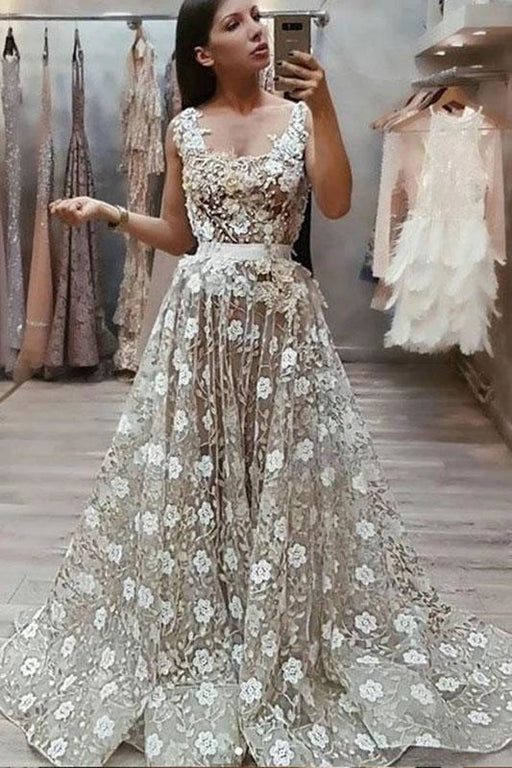 A Line Lace Prom Vintage Straps African Evening Dress with Beads and Flowers - Prom Dresses
