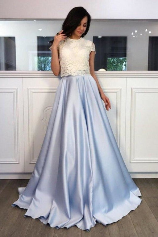 A-line Light Blue Two Piece Short Sleeves Round Neck Satin Prom Dress with Lace - Prom Dresses