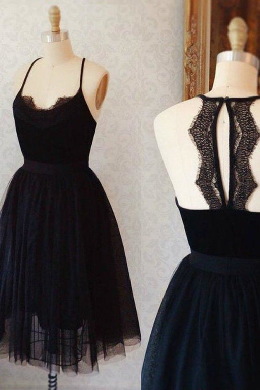 A Line Little Dress Cute Sleeveless Tulle Black Knee Length Homecoming Dresses - Prom Dresses