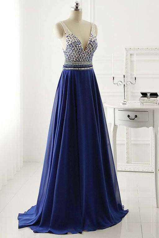 A Line Long Chiffon Royal Blue Crystal Prom Dress Eevening Gown - Prom Dresses