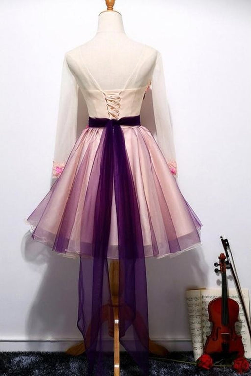 A Line Long Sleeves Tulle Short Homecoming Dresses with Appliques and Flowers - Prom Dresses