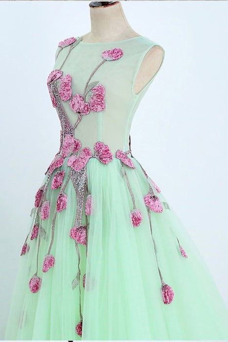 A Line Mint Green Sleeveless Formal with Appliques Long Tulle Prom Dress - Prom Dresses