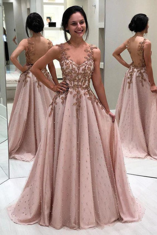 A Line Neck Prom Beads Appliqued Long Evening Dress with Sheer Back - Prom Dresses