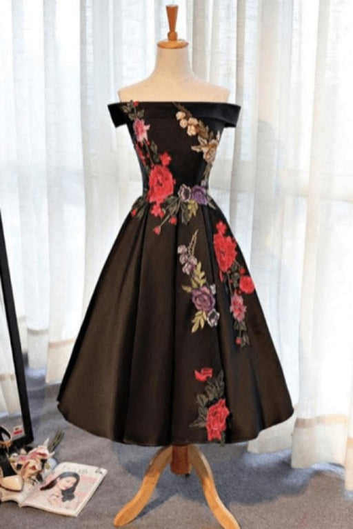 A Line Off Shoulder Black Ankle Length Satin Prom Dresses with Appliques - Prom Dresses