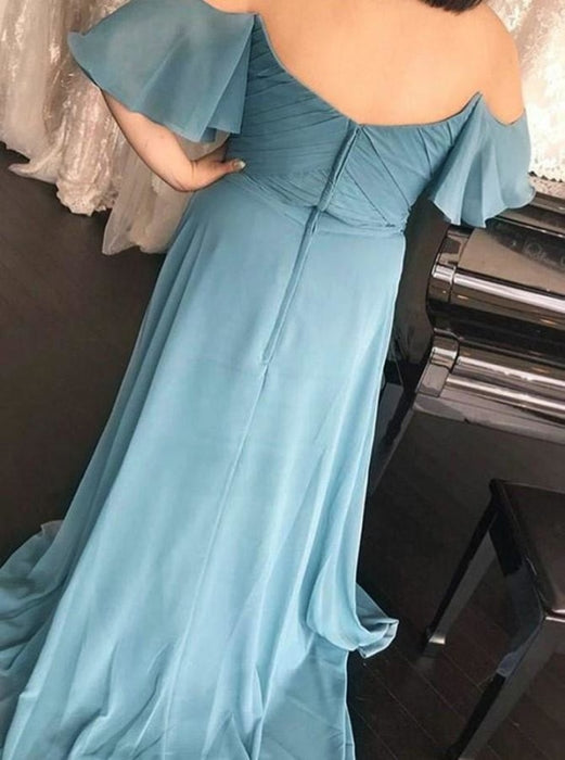 A-Line Off-the-Should Ruched Blue Chiffon Bridesmaid Dress - Bridesmaid Dresses