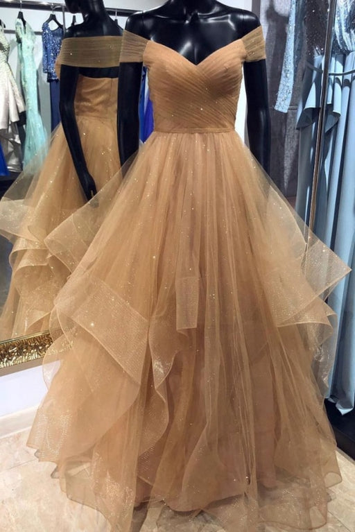 A Line Off the Shoulder Floor Length Prom Dress with Pleats Long Evening Dresses - Prom Dresses
