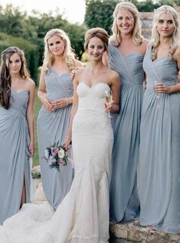 A-Line One Shoulder Grey Chiffon Bridesmaid Dress - Bridesmaid Dresses