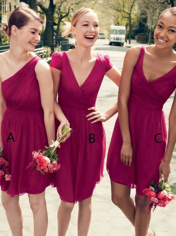 A-Line One Shoulder Short Pleated Dark Fuchsia Chiffon Bridesmaid Dress - Bridesmaid Dresses