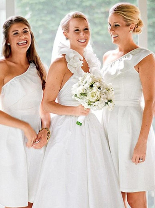 A-Line One Shoulder Short White Chiffon Bridesmaid Dress - Bridesmaid Dresses