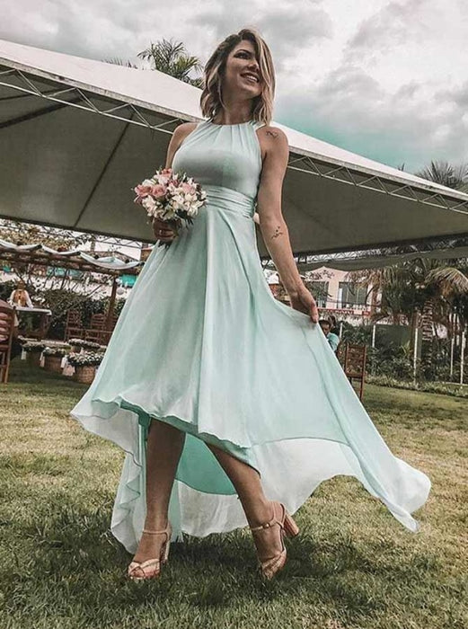 A-Line Round Neck High Low Mint Chiffon Bridesmaid Dress - Bridesmaid Dresses
