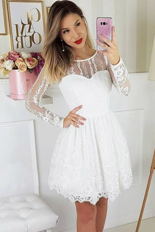 A-Line Round Neck Long Sleeves White Lace Homecoming Party Short Dress - Prom Dresses