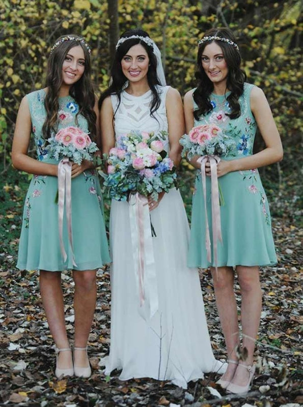 A-Line Round Neck Mint Chiffon Bridesmaid Dress - Bridesmaid Dresses