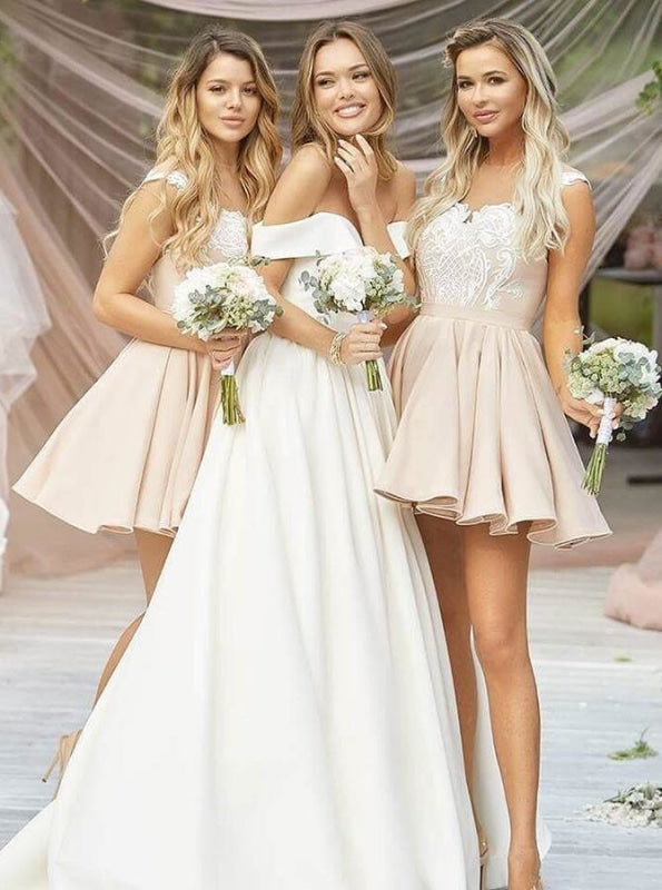 A-Line Round Neck Pleated Champagne Satin Bridesmaid Dress - Bridesmaid Dresses