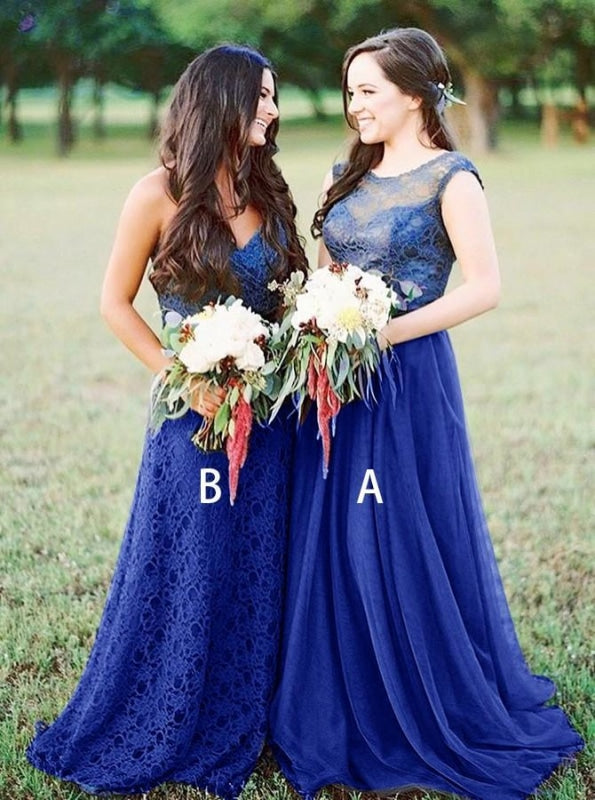 A-Line Round Neck Royal Blue Tulle Bridesmaid Dress - Bridesmaid Dresses