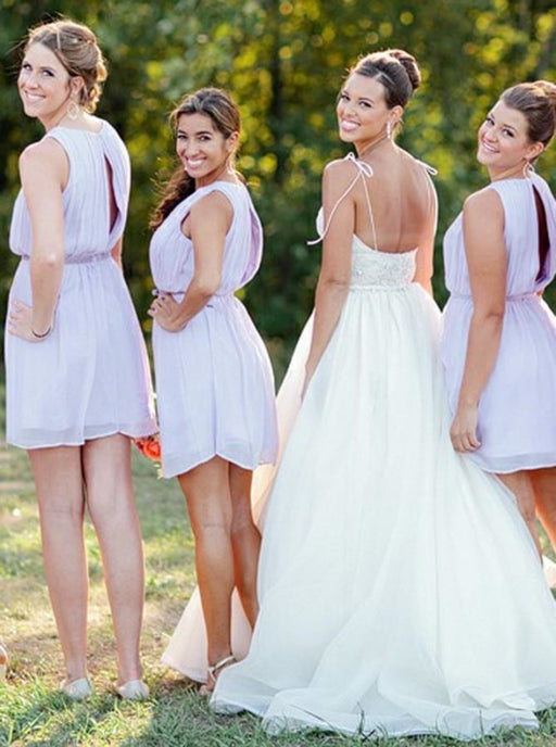 A-Line Round Neck Short Lavender Chiffon Bridesmaid Dress Open Back - Bridesmaid Dresses