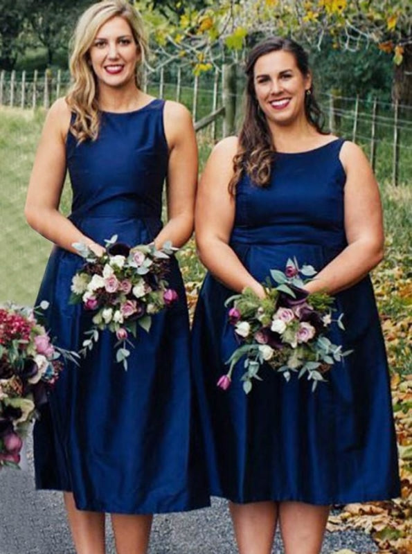 A-Line Round Neck Tea Length Blue Satin Bridesmaid Dress - Bridesmaid Dresses