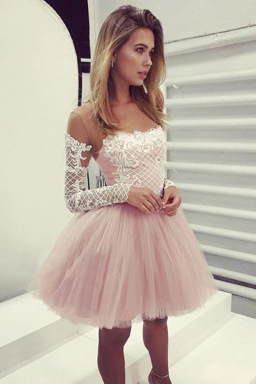A-Line Sheer Neck Long Sleeves Pink Tulle Homecoming Cocktail Dress with Appliques - Prom Dresses