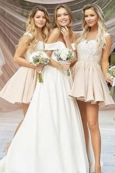 A-Line Short Lace Appliques Bridesmaid Dress - Bridesmaid Dresses