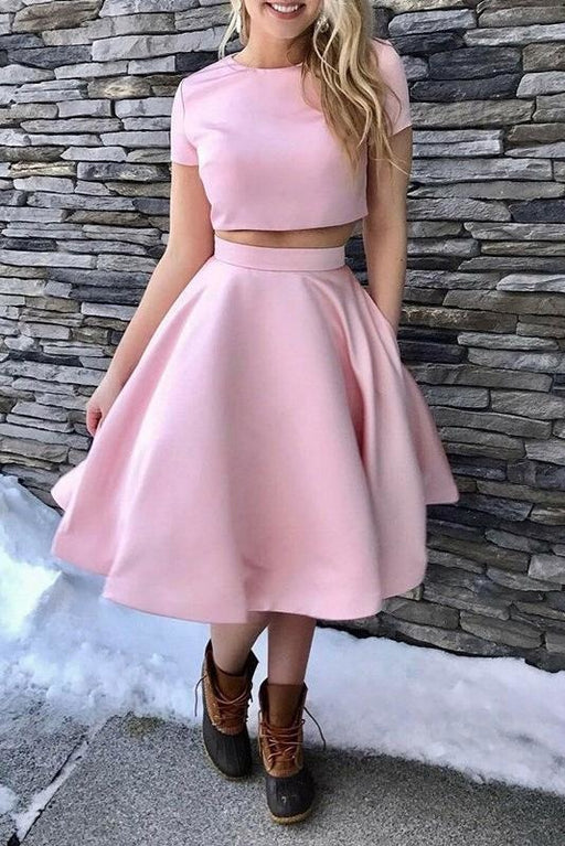 A-Line Short Sleeves Tea-Length Homecoming Dress Two Piece Satin Prom Dresses - Prom Dresses