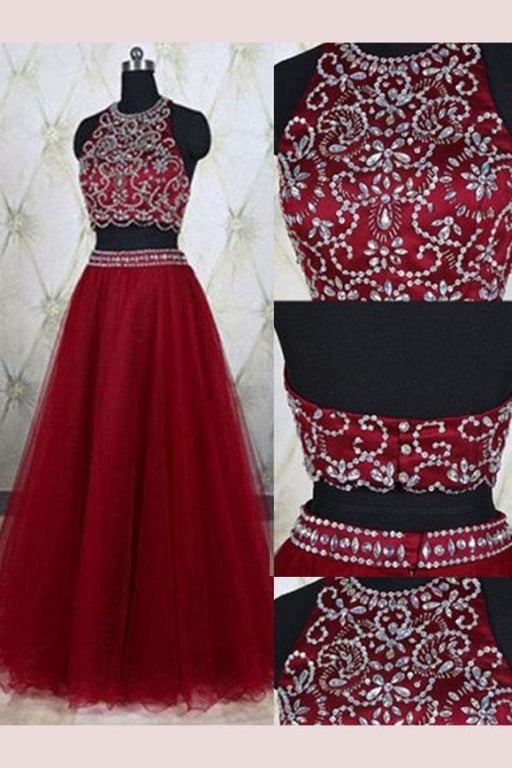 A-Line Sleeveless Burgundy Jewel Tulle Beading Floor-Length Two Piece Dresses - Prom Dresses