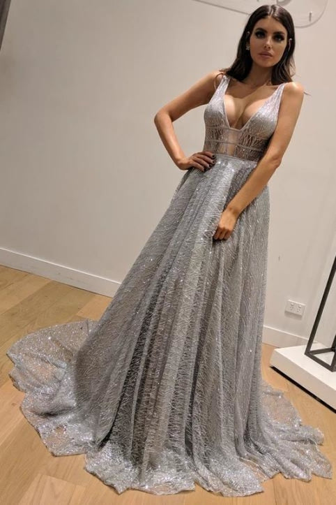 A-Line Sleeveless Silver Backless Fashion Custom Unique Design Long Prom Dresses - Prom Dresses