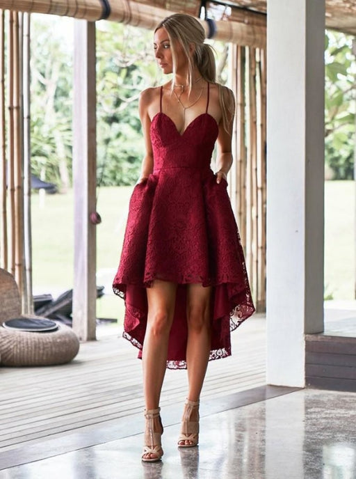 A-Line Spaghetti Straps High Low Red Lace Bridesmaid Dress - Bridesmaid Dresses