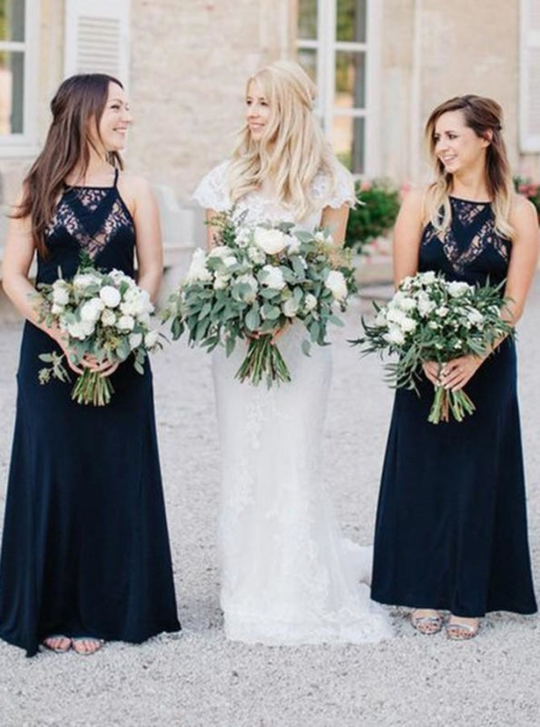 A-Line Square Navy Blue Chiffon Bridesmaid Dress - Bridesmaid Dresses