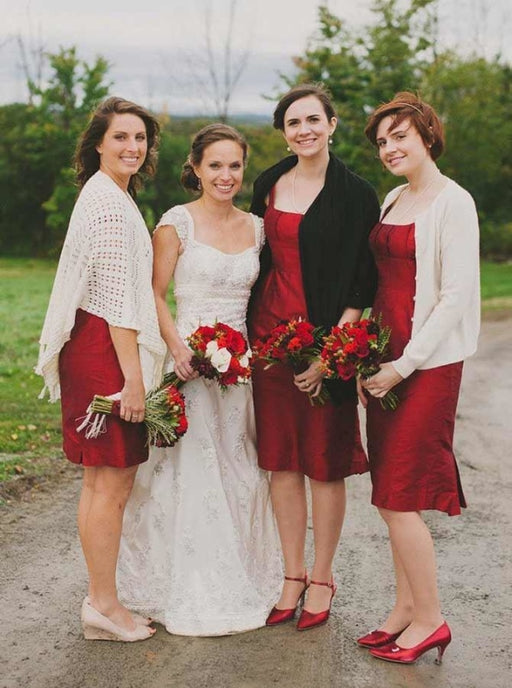 A-Line Square Neck Knee Length Red Elastic Satin Bridesmaid Dress - Bridesmaid Dresses