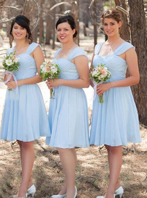A-Line Square Neck Short Light Blue Chiffon Bridesmaid Dress Ruched - Bridesmaid Dresses