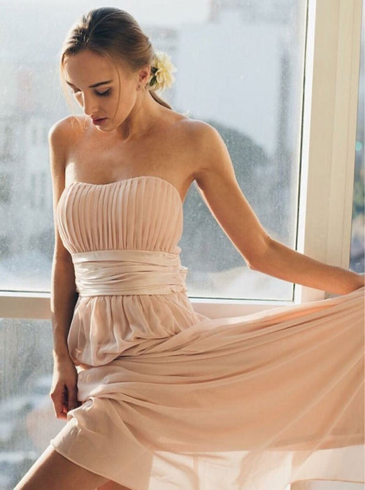 A-Line Strapless Pleated Pink Chiffon Bridesmaid Dress - Bridesmaid Dresses
