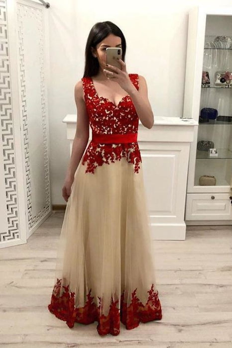 A Line Tulle Prom with Red Lace Appliques Floor Length Senior Dance Dress - Prom Dresses