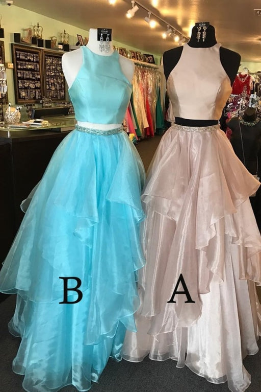 A-line Two Piece Peach Pink Jewel Sleeveless Open Back Floor-length Prom Dress - Prom Dresses
