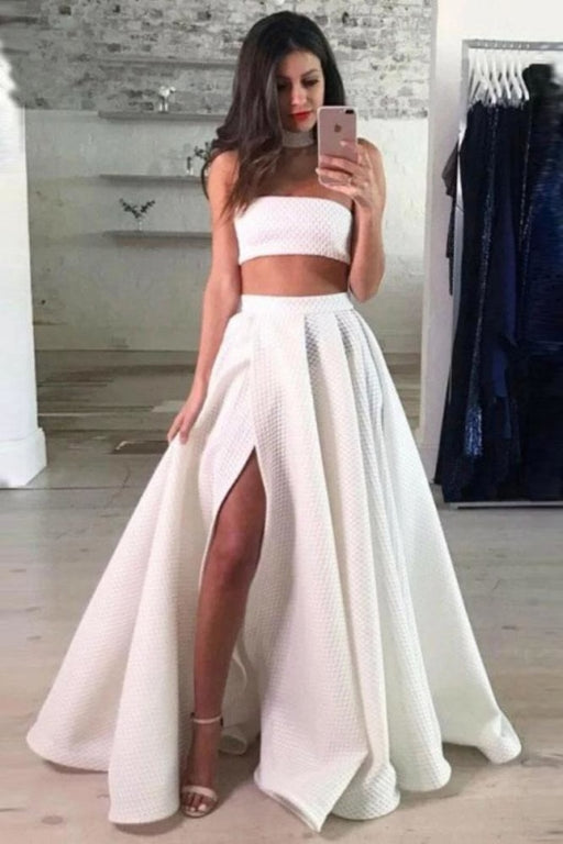 A Line Two Piece Split Prom Dress Sexy Strapless Long Formal Dresses - Prom Dresses