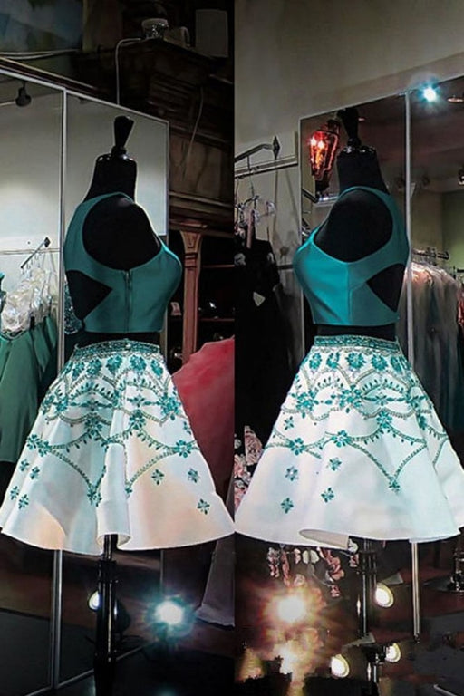 A Line Two Piece Turquoise Homecoming with Beading Formal Short Prom Dresses - Prom Dresses