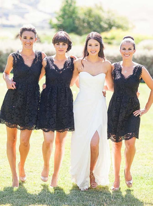 A-Line V-Neck Above Knee Black Lace Bridesmaid Dress - Bridesmaid Dresses