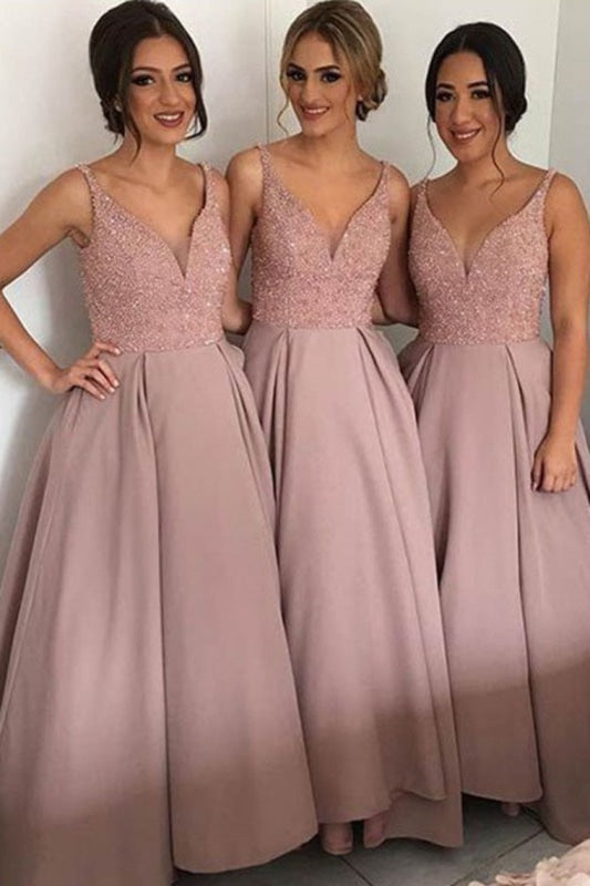 A Line V Neck Beaded Bodice Bridesmaid Dresses Satin Floor Length - Bridesmaid Dresses